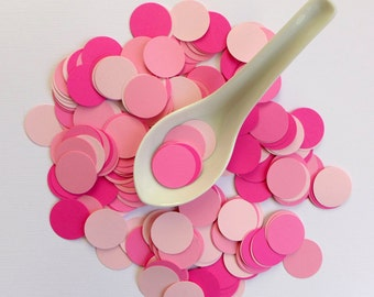 Birthday Baby shower - 200 shades of pink one inch circle paper confetti - flamingo fuscia bubblegum cotton candy ballet slipper blush
