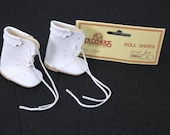 """Vintage Doll Shoes White Leather Baby Booties Tallina's Doll Supplies Marked SM-04  IDEAL Vogue 2"""" x 1-1/8"""""""