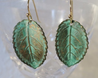 Gift for Sister,Green Leaf Earrings, Verdigris patina brass earrings,Leaf Jewelry Art Nouveau Jewelry Boho Earrings,Nature Lover Gift to Her