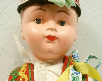 Czechoslovkia Traditional Dress Celluloid Boy Doll