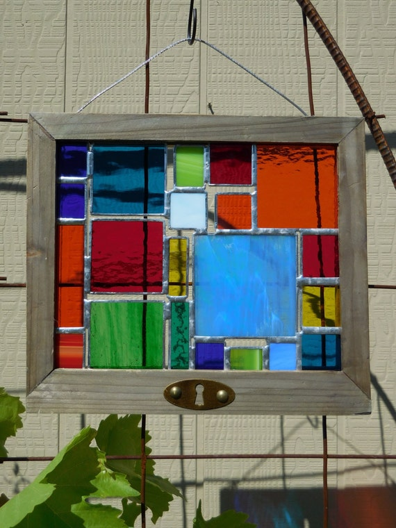 stained glass panel with frame suncatcher window