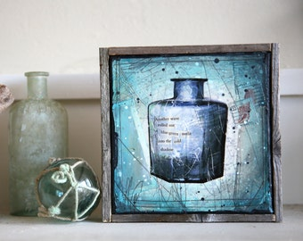 "Message In A Bottle No. 6 - 7"" x 7"" original framed mixed media painting on canvas"