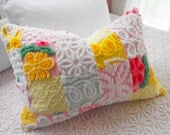 SWEETEST SPRING TIME Vintage Chenille And Minky Fabric Patchwork Quilt Style Pillow Sham