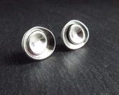 Sterling silver stud earrings, silver studs, pebble earrings, post earrings, oxidized silver jewelry, organic, antique silver, metalwork {B}