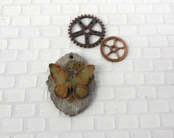 Steampunk butterfly on frame with gears in 1:12 scale