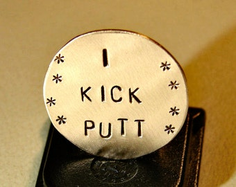 Golf marker in bronze with I kick putt - GM821