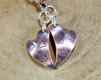 Copper Heart Shaped Dangle Earrings with Paw Prints and Iridescent Purple Patina - ER092