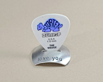 Aluminum guitar pick stand with handstamped I love you or your own custom message - GPS729