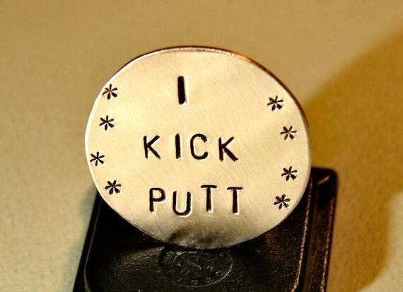 Golf marker in bronze with I kick putt - GM821