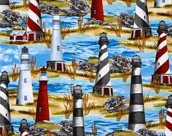 Coastal Light House on Ocean Fabric---Soooo Gorgeous