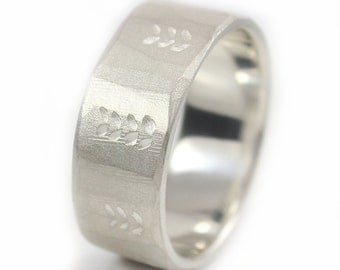 Recycled silver Wedding Ring Rustic Wedding Ring Plant Argentium Silver custom made to size