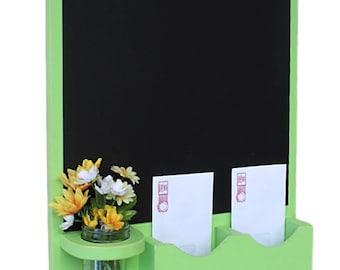 Chalkboard Mail Organizer with Mason jar - Wood - Letter Holder - Mail Holder - Key Hooks