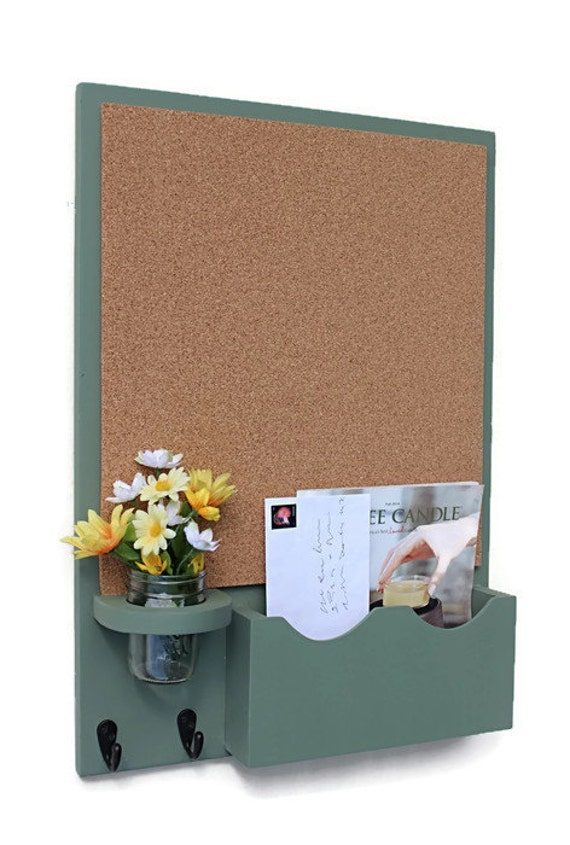 Cork board mail organizer with mason jar wood by legacystudio for Cork board with hooks