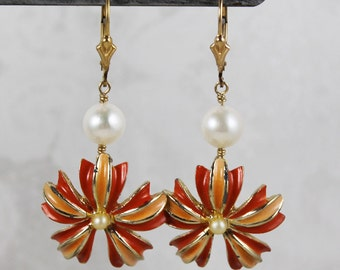 Pair of Handmade Upcycled Orange Enamel Flower, Freshwater Pearl and Gold Filled Pierced Earrings