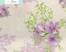 Full Vintage Fitted Sheet with Purple Flowers