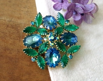 Vintage Large Blue Green Crystal AB Pronged Rhinestone Brooch
