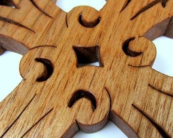 Cross / Ornate / MID SIZE 7 inch / Butternut Wood
