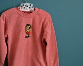 Vintage Children's Red and White Striped Shirt with Pinocchio Applique - Size 2T 3T