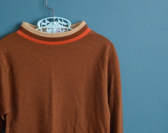Vintage 1970s Boy's Brown Knit Shirt by Sears - Size 10
