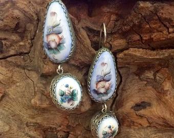 Fall into Vintage SALE Beautiful Art Deco Art Nouveau Russian Floral Hand Painted Sterling Silver Vintage Antique Earrings