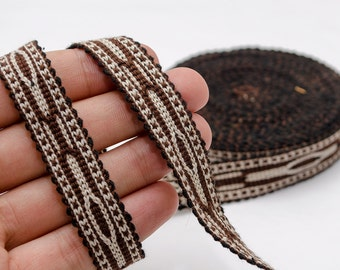 6 yards long hand woven cotton band, ribbon, lace, brown from Samarkand