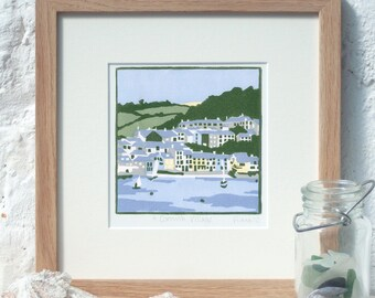 Hand Printed A Cornish Village Linocut Print