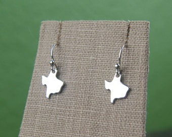 Texas state charm earrings in sterling silver, heart of Texas, lone star state, cowboy, state of Texas, western, Texas necklace