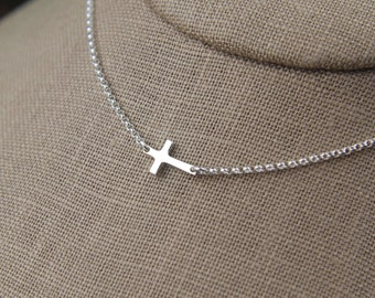 Sterling silver cross necklace, silver necklace, sideways cross, tiny cross necklace, cross jewelry, side cross necklace, faith, layering