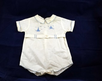 Vintage Baby Outfit. One Piece Outfit. Shirt Top Blouse White Cotton Hand Embroidered Blue Edging. Embroidered Boat. Ship. Light House.