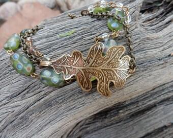 oak leaf bracelet oak leaf jewelry etched metal jewelry brass leaf handmade jewelry czech glass beads rosary chain autumn fall jewelry