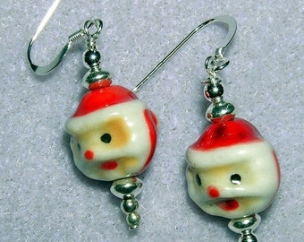 Halloween SPECIALS 925 SILVER SMILING Santa Beaded Dangle Earrings