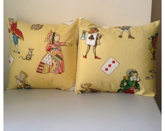 Alice in wonderland pillow cushion mad hatter cheshire cat queen of hearts Two 16 inch vintage fabric yellow green pink orange blue gray red