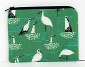 Bird Zippered Pouch, Stork Family, Green Small Coin Purse, Cotton and Steel Fabric