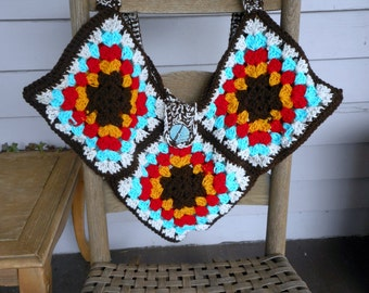 The Macha Crow's Indian Corn Medicine Bag. BOHO GYPSY Crochet Granny Square Pouch. Gold Turquoise Chili  Coffee Oatmeal