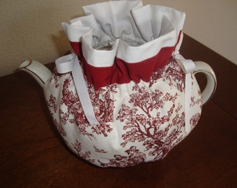 Red and White Toile Tea Pot Cozy