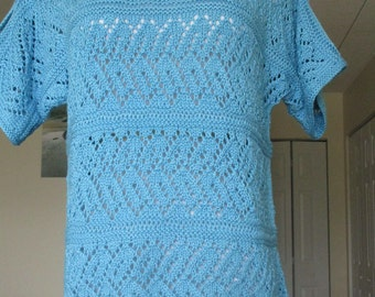 Summer blue cotton sweater no. 275