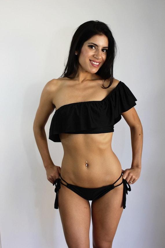 One sleeve ruffle Bikini MORE COLORS