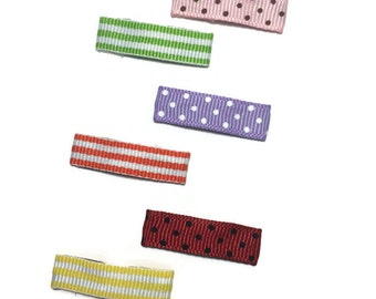 50 - 30mm - Dots - Stripes Lined Snap Clips - 1 1/4 inches - Grosgrain Ribbon Lined Baby Snap Hair Clips - Lined Mini Clips - Made To Order
