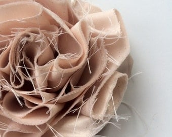 SWANKY Vintage Couture Fabric Flower - Champagne - (Made to Order) - Photo Prop - Spring Easter Wedding