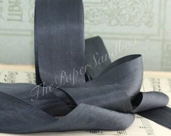 "Pewter Gray Silk Ribbon, Dark Grey Silk Ribbon, Charcoal Gray Silk Ribbon, 1.25"" wide by the yard, Gift Wrapping, Bouquets, Bridal Sashes"