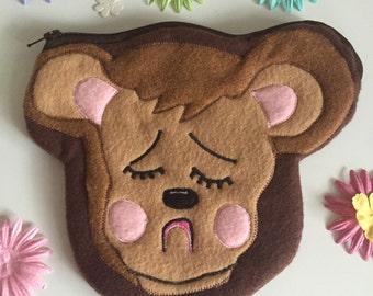 Vintage Squeaky Bear Felt Zipper Pouch