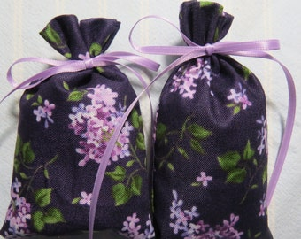 "Purple 3""X2"" Sachet-'White Nectarine and Pink Coral' Fragrance-Lavender Lilacs Sachet-Cotton Fabric Botanical Sachet-Cindy's Loft-269"