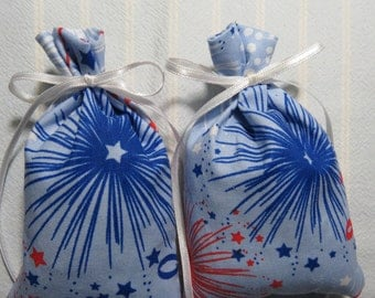 "Patriotic Blue 4.5""X2.5"" Sachet-'Cranberry Marmalade' Fragrance-Fireworks Sachet-Cotton Fabric Botanical/Herbal Sachet-Cindy's Loft-362"