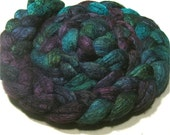 BFL & tussah silk hand dyed roving - spinning and felting fiber - 5 oz Jupiter - hand painted combed wool top - BFL Silk 75/25 fiber