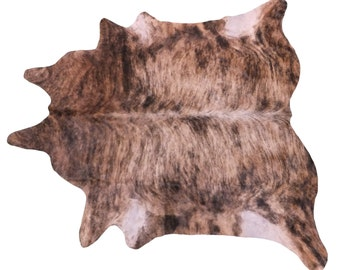 Brazilian Cowhide Fur Rug - Extra Large Exotic Brindle With Brown - Over 8'