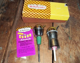 Mr. Bartender Shot Pourer  orignal box and the Mid century chrome barware bottle spouts