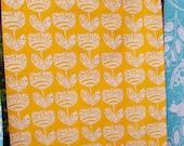 Scandi Tulip Motif  Screen Printed Tea Towel in Bright Sunshiny Yellow