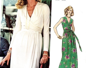 1970's Vogue No. 1015 by Bill Blass - Evening Dress with Fitted V Neck Bodice and Front Drape with Label  Bust 31 1/2""
