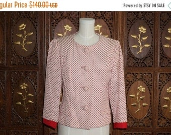 ON SALE 1950s MILGRIM Red & Cream Embroidered Cropped Jacket