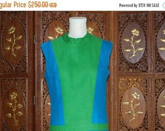 ON SALE Vintage 1960s Silk Blue & Lime Green  Color Block Dress